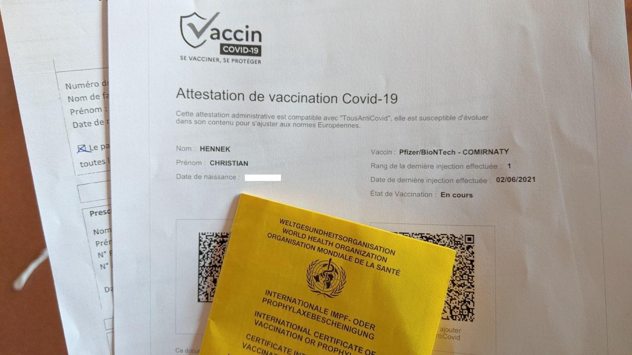 französische Bescheinigung über eine erfolgte Impfung gegen Corona
